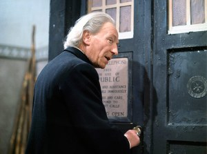 William Hartnell as the Doctor unlocking the Tardis