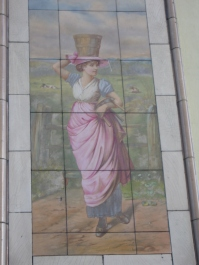 picture in tiles of country maiden