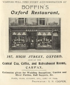 Advertisement of Boffin's Oxford Restaurant