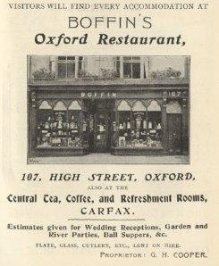 Advertisement of Boffin's Oxford Restaurant