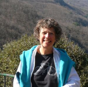 Isabel in the Cevennes with the hills behind her