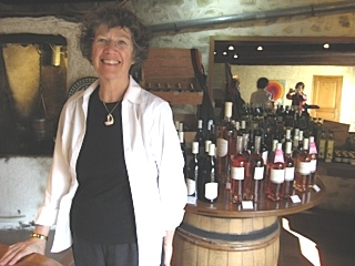 Isabel Huggan at a vintner's
