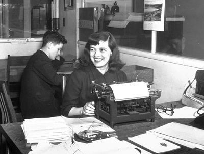Mavis Gallant at work as a journalist