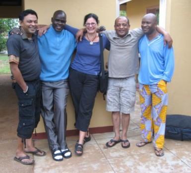 Barbara Sibbald with flatmates in Manzini.