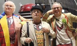 Peter Davison, Colin Baker and Sylvester McCoy in The Five(ish) Doctors (Radio Times)