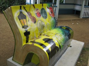 Sherlock Holmes bench, front