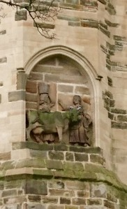 The cow and its maid, Durham Cathedral